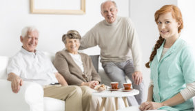 seniors with a caregiver
